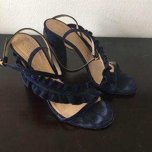 Blue Suede Chloé Heel